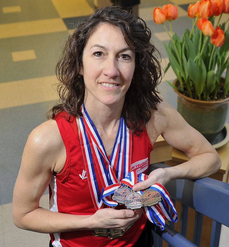 Sue McCarthy won the 400 meters, and was second in the 60 and 200 during a recent national Masters meet.