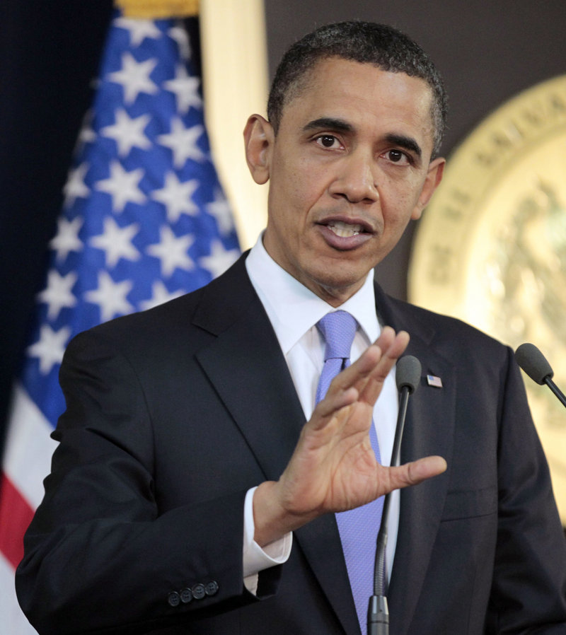 President Obama speaks about the situation in Libya during his joint news conference with President of El Salvador Mauricio Funes on Tuesday.