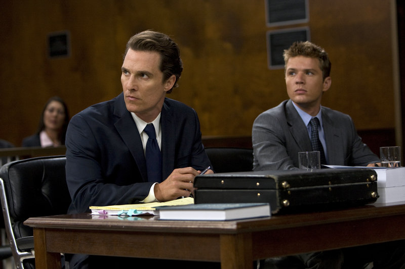 "Matthew McConaughey, left, and Ryan Phillippe are shown in a scene from ""The Lincoln Lawyer."""
