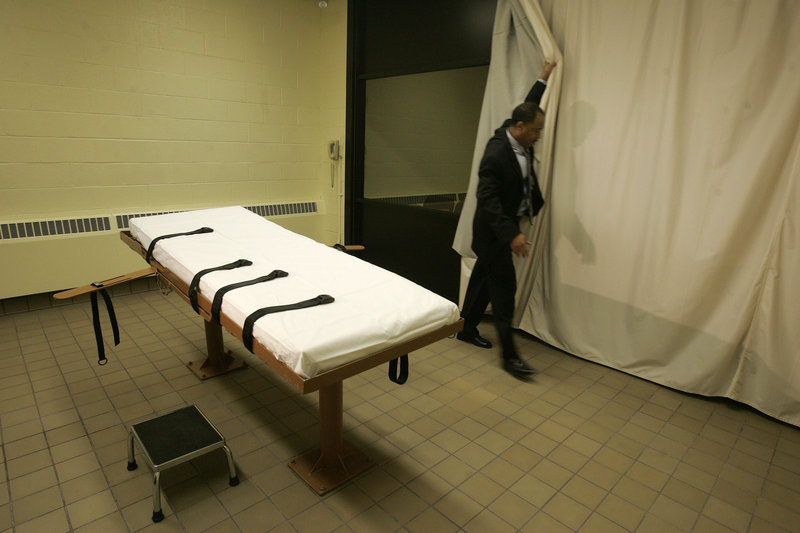 Oklahoma, Ohio and Texas, the nation's busiest death penalty state, have switched from sodium thiopental to pentobarbital for lethal injections. This photo shows the death chamber at the Southern Ohio Corrections Facility in Lucasville.