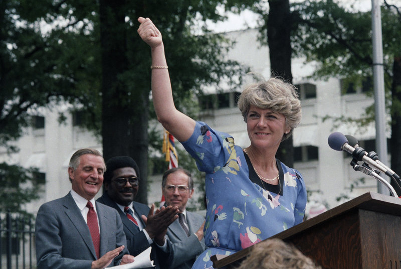 Democratic vice presidential candidate Geraldine Ferraro gives a thumbs-up to supporters in Jackson, Miss., in 1984. Behind her, from left, are presidential candidate Walter Mondale, state Rep. Robert Clark and former Gov. William Winter. She sometimes overshadowed Mondale.