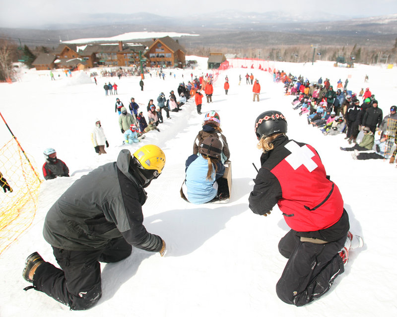 Sledders are launched down a specially designed slope at Saddleback.