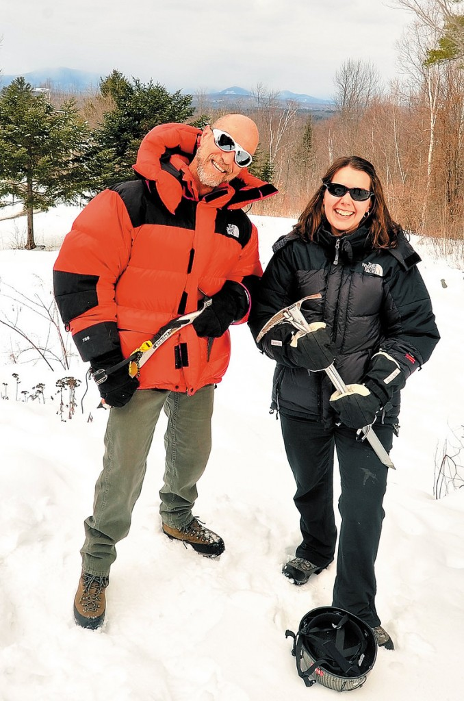 Jim Albert and Melissa Shea, who are business partners in New Vineyard-based Mountain Guide Service, will spend three weeks getting to Everest's base camp, at 17,800 feet.