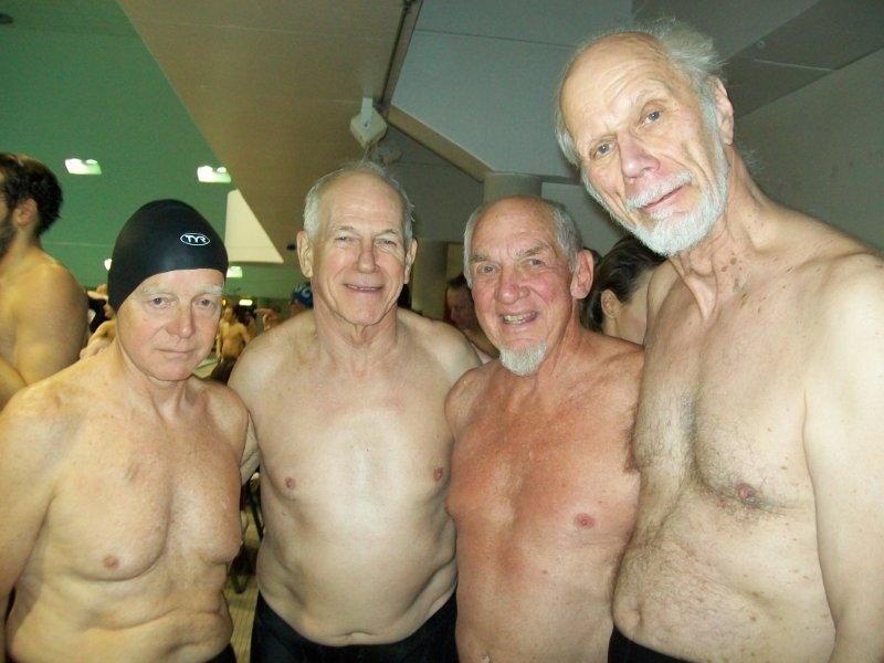 Members of the Maine Masters Swim Club, including Hans Wendel, left, Phil Kerr, Hap Hazzard and William Reeve, set five age-group relay records at the New England Masters Swimming Championships, held March 18-20.