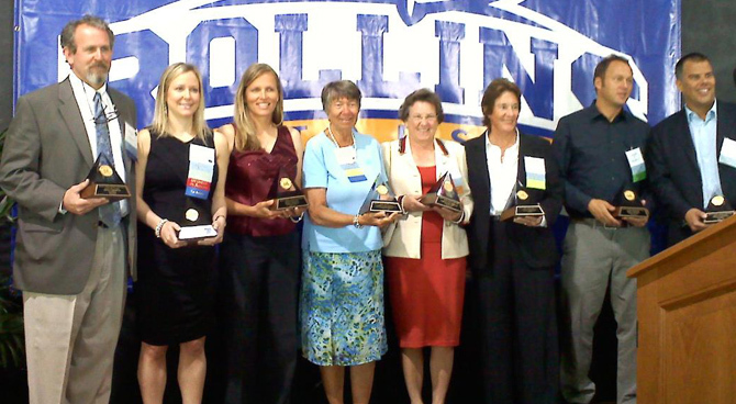 Lynn Welch, third from right, a South Portland native, was inducted Saturday night into the Rollins College Sports Hall of Fame.