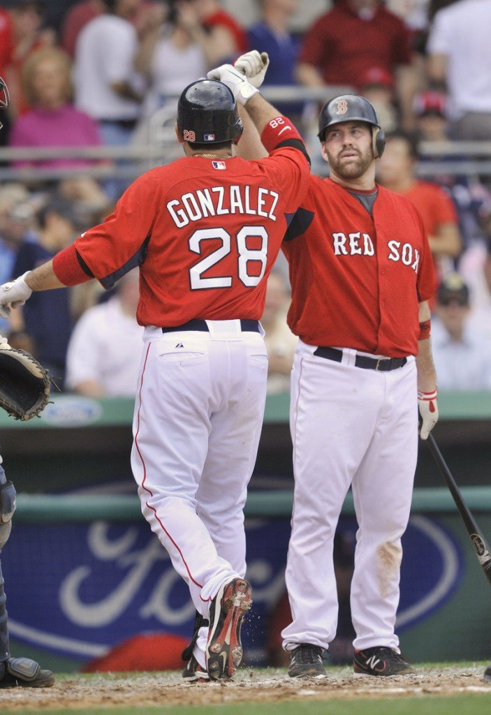 It s a sight Red Sox fans hope to see a lot this year – Adrian Gonzalez congratulated by Kevin Youkilis after a home run. Gonzalez congratulating Youkilis is also good.