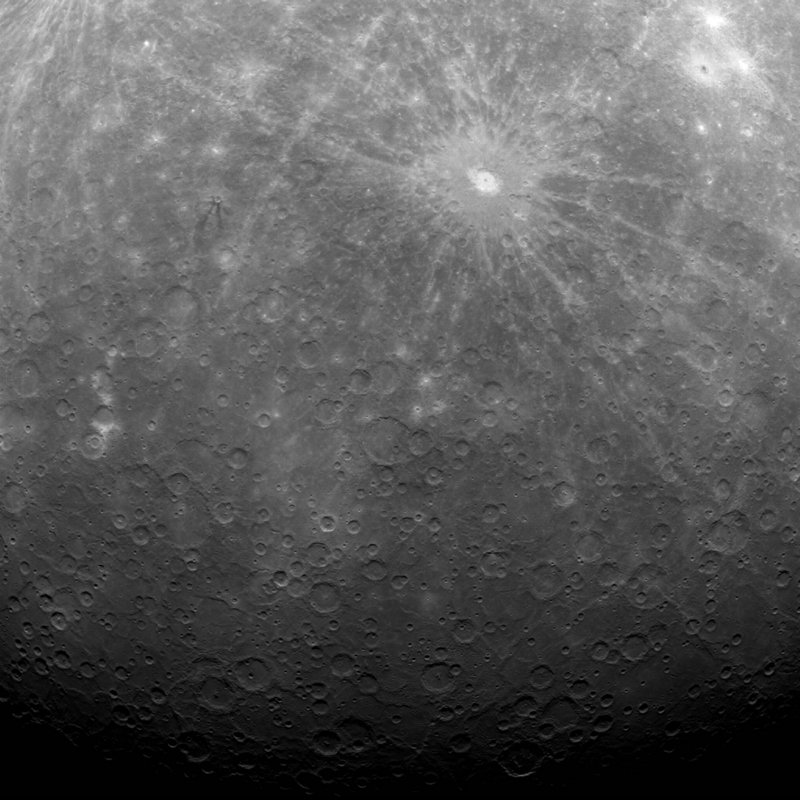 This image provided by NASA is the first ever obtained from a spacecraft in orbit around the solar system's innermost planet, Mercury. It was captured early Tuesday morning.