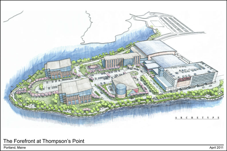 A conceptual drawing shows The Forefront at Thompson's Point complex with a hotel, offices, a music hall and an event center.
