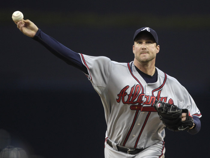Atlanta Braves starting pitcher Derek Lowe releases a pitch against the San Diego Padres on Monday in San Diego.