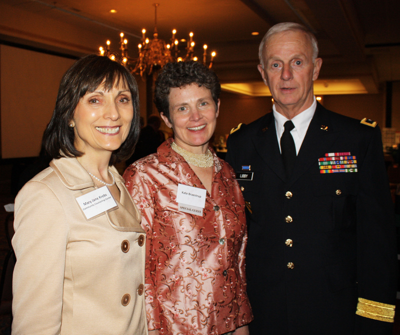 Interim CEO Mary Jane Krebs, Heart of Gold award winner Kate Braestrup and Maj. Gen. John Libby of the Maine National Guard, last year's winner of the Heart of Gold award.
