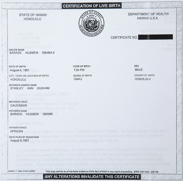 This image provided by the White House shows a copy of President Barack Obama's birth certificate from Hawaii.
