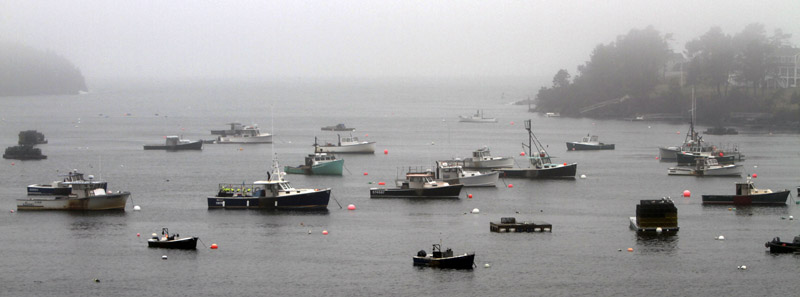 Fog envelopes Bailey Island, with boats tied to their moorings. The Institute for Economics and Peace, an international think-tank, ranks Maine ranked as the most peaceful state and Louisiana the least.