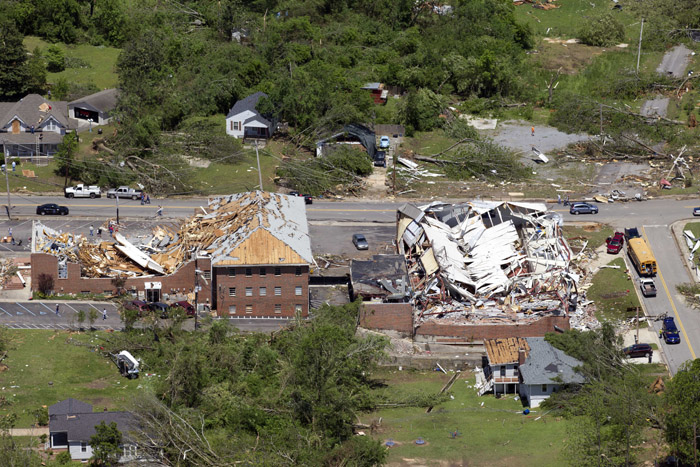 An aerial view of damage to downtown Cullman, Ala., today.