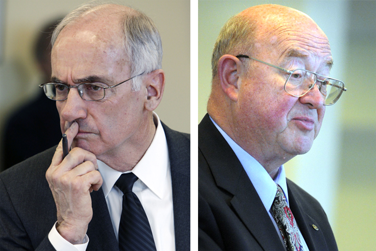 File photos of Darryl Brown, left, former commissioner of the Department of Environmental Protection, and Philip Congdon, former commissioner of the Department of Economic and Community Development.