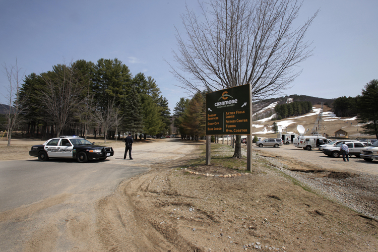 Police blocked off the road to the base lodge of Mount Cranmore while officials searched Duck Pond, which is near the spot where Krista Dittmeyer's car was found.