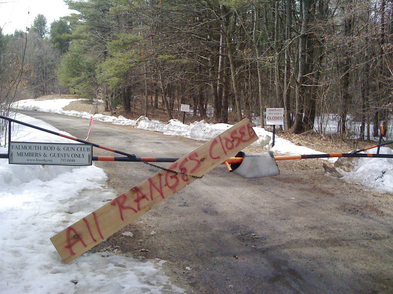 """A sign has been posted at the Falmouth Rod and Gun Club to keep people from using the ranges. A code enforcement officer found """"serious safety issues"""" during an inspection."""