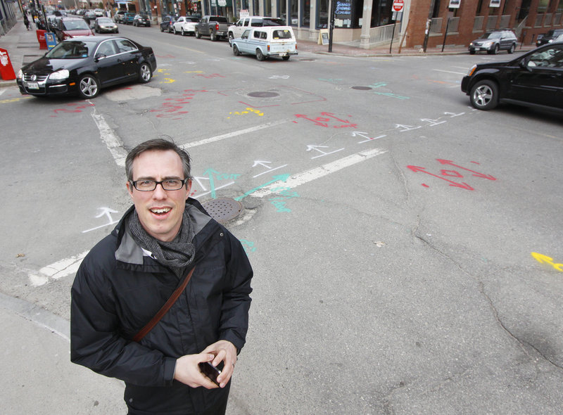 "Keith Gosselin of Portland is concerned that the markings on streets, curbs and sidewalks will be unsightly for visitors to the Old Port, a major tourist destination. ""I recognize that we have to be repairing things, and projects are projects, but this is really madness,"" he said."