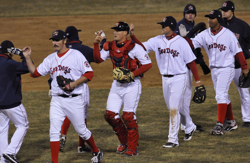Game over, game won, and the Portland Sea Dogs did what they hope will become a habit this season – the team congratulations in the infield. Portland opened its season on a chilly Thursday night at Hadlock Field with a 4-3 victory against the Reading Phillies.