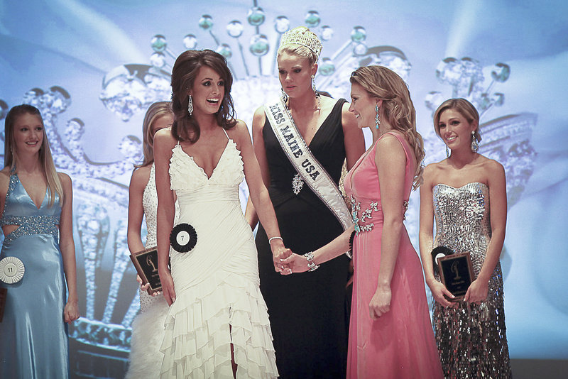 Emily Johnson, left, won the Miss Maine USA title last November, taking over from 2010 winner Katie Whittier, center. First runner-up Ashley Marble, right, assumed the title when Johnson bowed out after learning that the date of the national pageant conflicted with her sister s wedding.
