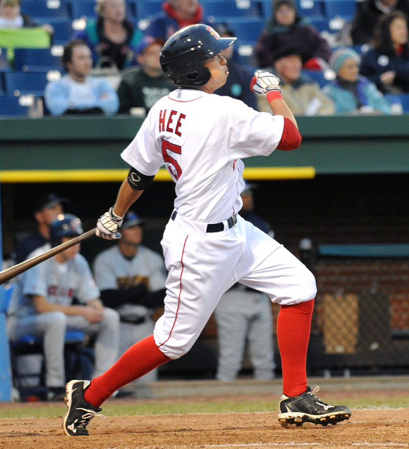 Jon Hee watches the flight of the ball after cracking a two-run double for the Sea Dogs during a five-run fourth inning. Portland and Trenton will meet again at 6 tonight at Hadlock.