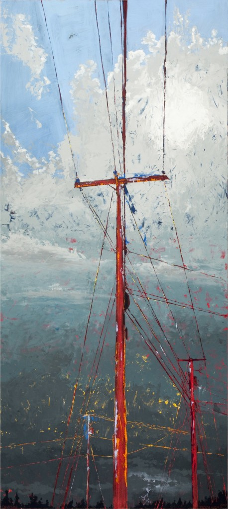 """Calvary #2,"" oil and wax on collaged panel by Marissa Girard."
