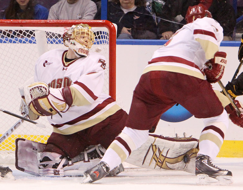 John Muse was the goalie on two NCAA championship teams at Boston College. Weeks removed from the college game, he's getting a good look at the playoffs in Portland.