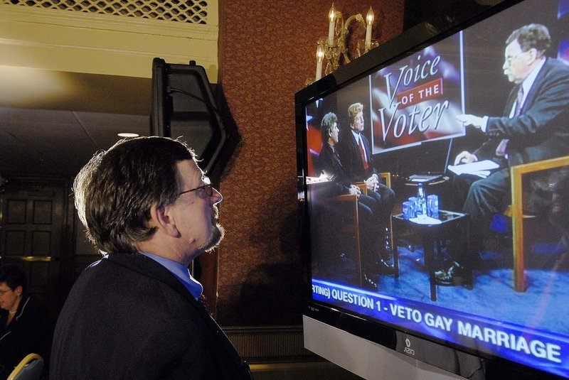 Stand For Marriage Maine Director Marc Mutty watches returns come in on the Question 1 vote on Nov. 3, 2009.