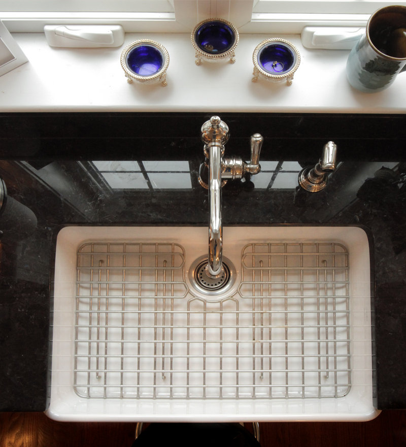 The kitchen in Sarah Steinberg's home has a Franke fireclay sink.
