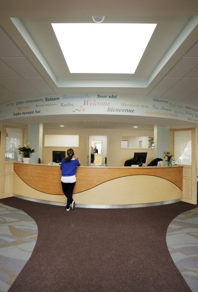 The new location of Community Counseling Center has a welcoming reception area with plenty of natural light.