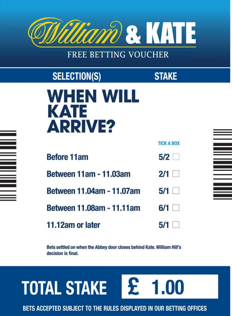 This image shows the design of William Hill's William & Kate betting slip. British bookmakers say that they could see more than $1.6 million worth of wagers on the royal wedding.