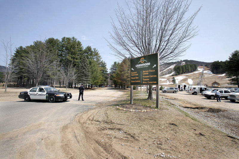 Police blocked off the road to the base lodge at Cranmore while officials searched the pond where Krista Dittmeyer's body was found.