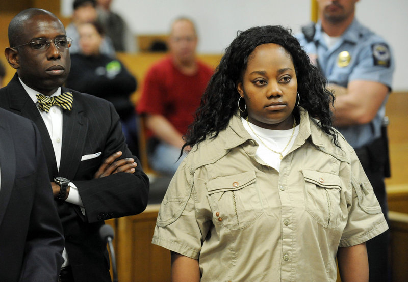 Tanya McDowell is shown at her arraignment in Norwalk (Conn.) Superior Court, Wednesday. She is charged with larceny.