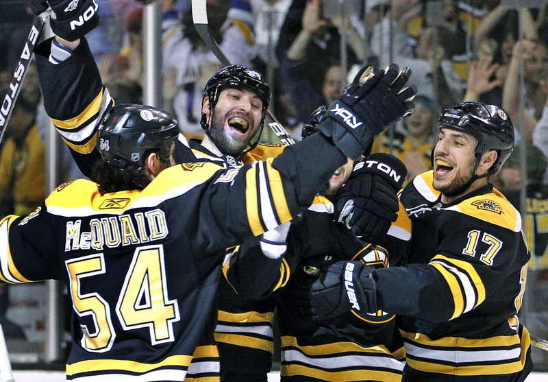 The Boston Bruins got to do plenty of celebrating Wednesday night after scoring the overtime goal that eleiminated Montreal. Now comes Philadelphia and a whole new set of playoff challenges.