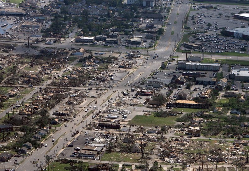 A path of devastation cuts through the Cedar Crest and Forest Lake neighborhoods in Tuscaloosa, Ala., shown in this aerial photo taken Thursday.