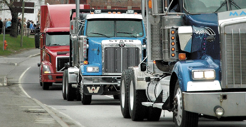 MEMORIAL: More than 20 truckers joined a procession in Skowhegan on Thursday to honor longtime truck driver Maxell