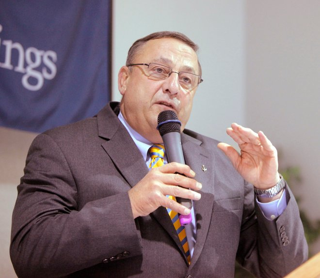 Gov. Paul LePage speaks at the annual meeting of the Sanford Springvale Chamber of Commerce and Economic Developmen in Sanford today.