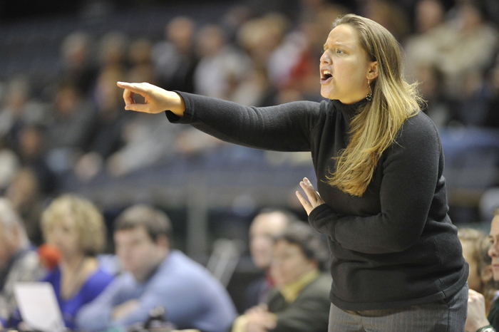 In this Feb. 28, 2011, photo Amy Vachon coaches McAuley in a girls class A regional final game at the Civic Center.