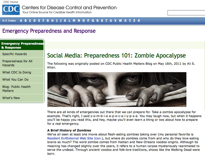A screen grab from the CDC's Emergency Preparedness and Response social media blog.