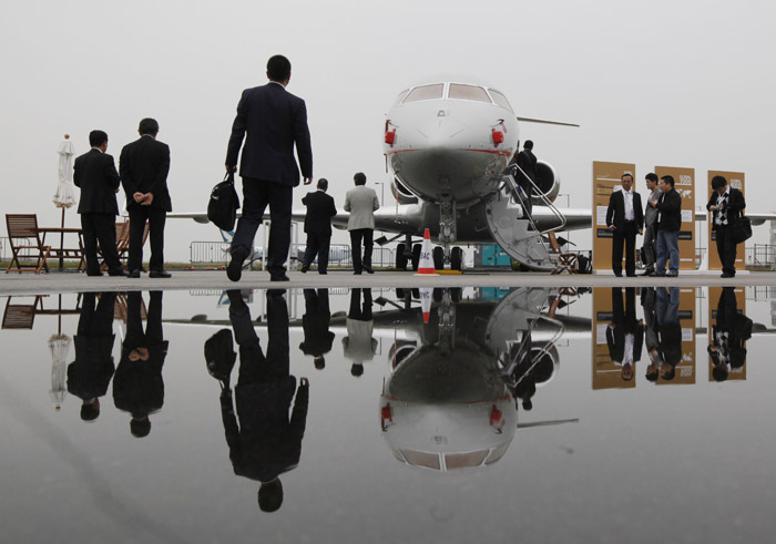 Visitors tour the Bombardier Global Express XRS corporate jet during the Asian Aerospace Show in Hong Kong in March.