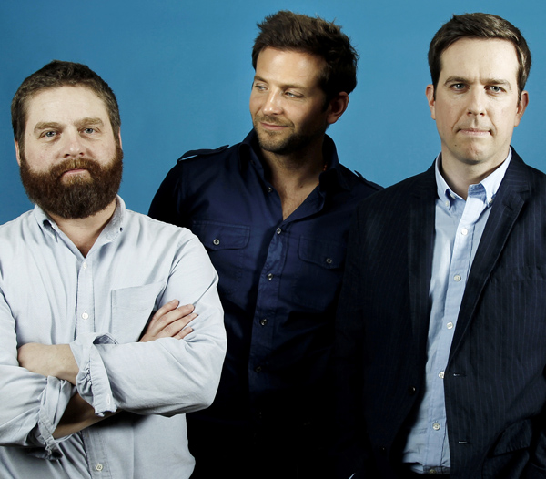 Actors Zach Galifianakis, left, Bradley Cooper, center, and Ed Helms, star in the upcoming film