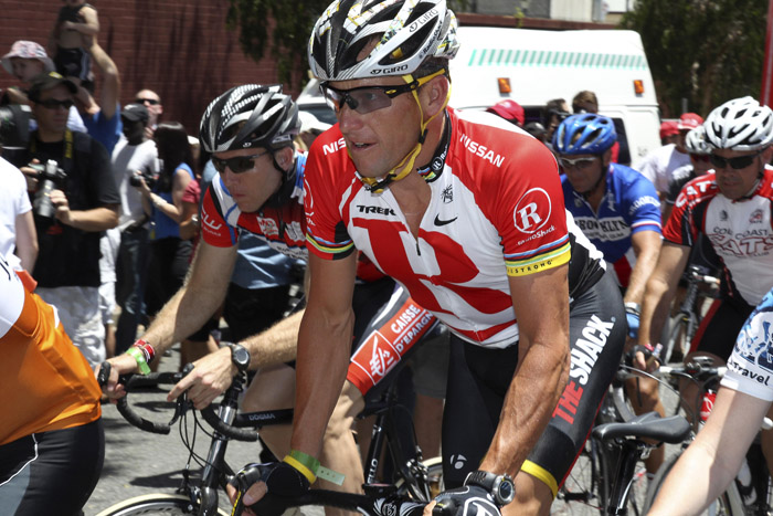 A Jan. 24, 2011, photo of Lance Armstrong during a fundraising bike ride in Brisbane, Australia.