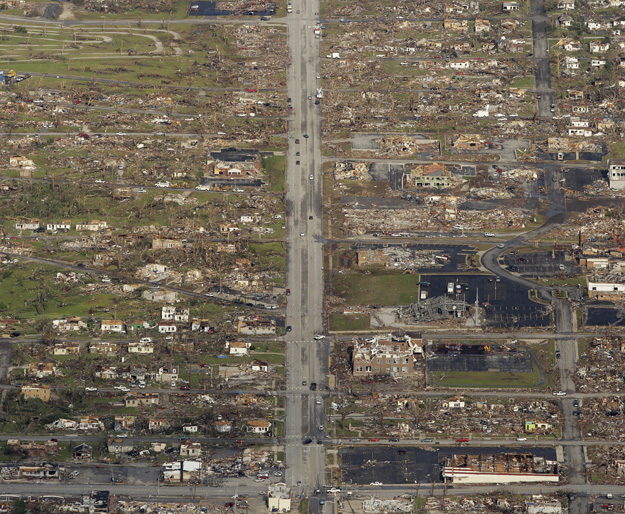 The path of a powerful tornado is seen in an aerial photo over Joplin, Mo., today.