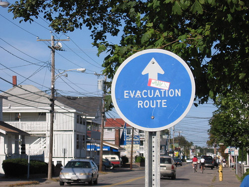 Sign showing evacuation route in Old Orchard Beach.