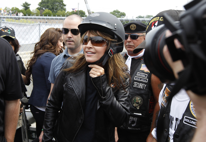 Sarah Palin, former GOP vice presidential candidate and Alaska governor, arrives at the beginning of Rolling Thunder at the Pentagon today.