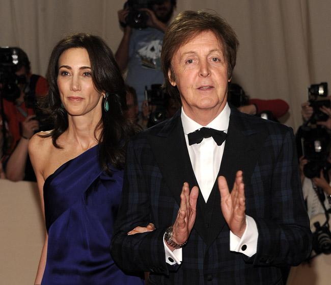 Paul McCartney and Nancy Shevell arrive at the Metropolitan Museum of Art Costume Institute gala on Monday in New York.