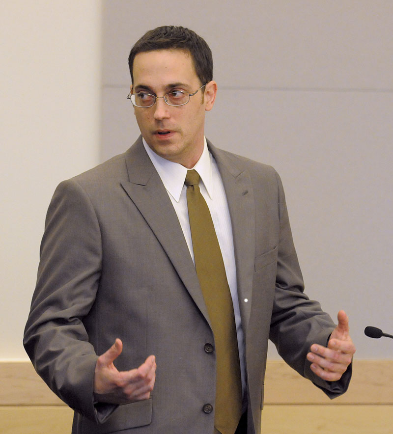 Nathaneal Nightingale appears in the courtroom during the first day of his trial at the Penobscot Judicial Center in Bangor, Maine, Monday, May 23, 2011. Nightingale allegedly shot and killed Michael Miller Sr. and his wife Valerie Miller in Webster Plantation 18 months ago.