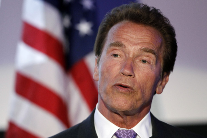 Arnold Schwarzenegger speaks at a function hosted by the Consulate General of Israel in Los Angeles on Tuesday. Schwarzenegger was honored at the event.