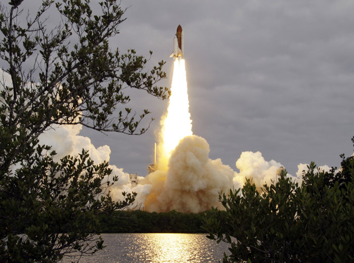 The space shuttle Endeavour lifts off from Kennedy Space Center in Cape Canaveral, Fla., today, beginning a 14-day mission to the international space station.