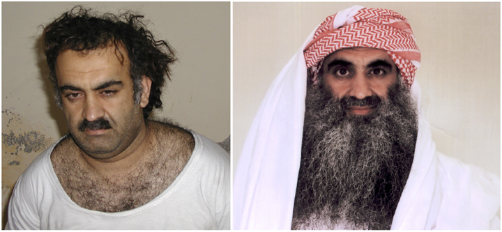 A 2003 photo of Khalid Sheikh Mohammed, the alleged 9/11 mastermind, shortly after his capture. At right, a 2009 photo of Mohammed purportedly taken at Guantanamo Bay, Cuba.