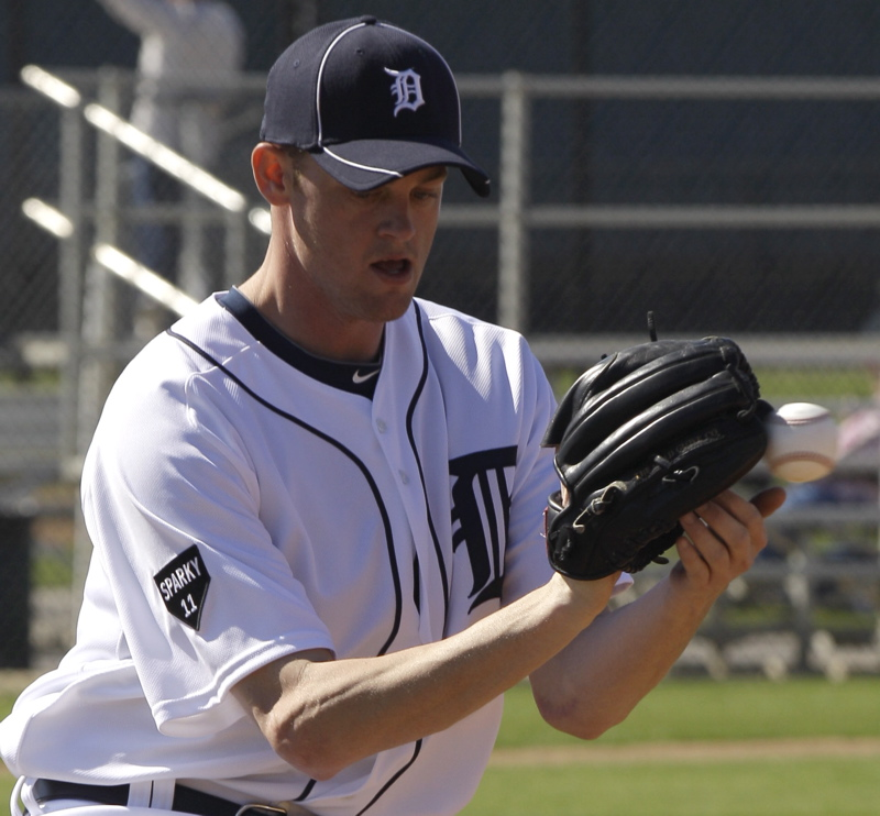 South Portland's Charlie Furbush works out with the Detroit Tigers during spring training in February. Furbush got promoted to the major leagues today for the first time. He was 4-3 with a 2.91 ERA in eight starts for Triple-A Toledo.
